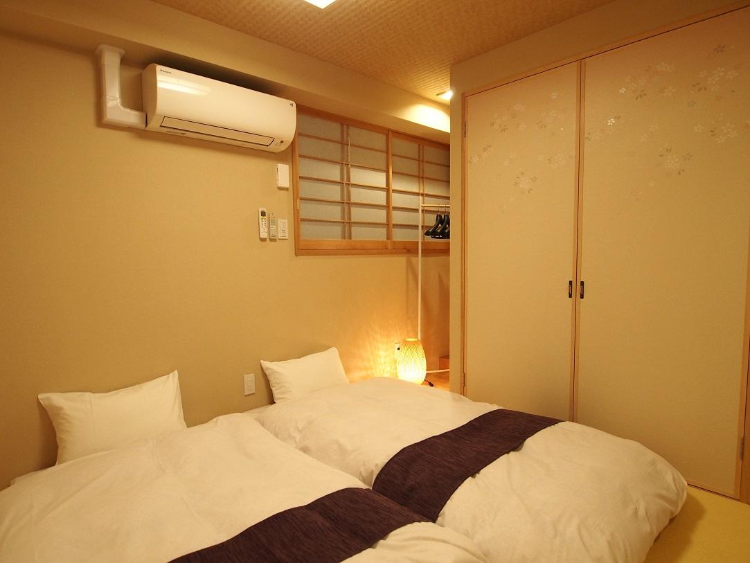 東京のファミリー向けホテルコンドミニアム。4名用室内。畳ルームあり